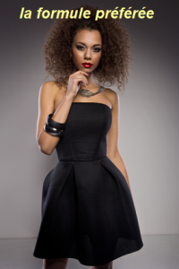 Femme en robe noire relookée